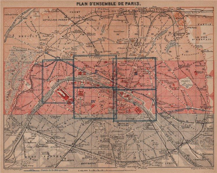 Associate Product PARIS town city plan de la ville showing city walls. Railways carte 1900 map