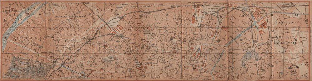 Associate Product NORTHERN PARIS town city plan de la ville. 8e 9e 10e 17e 18e 19e carte 1900 map