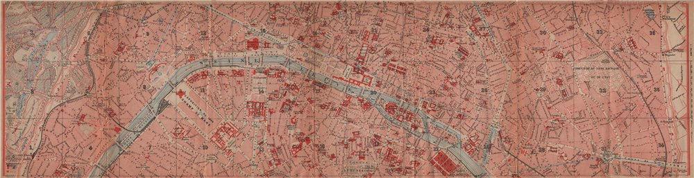 Associate Product CENTRAL PARIS town city plan de la ville. 1e 2e 3e 4e 6e 11e 16e 20e 1900 map