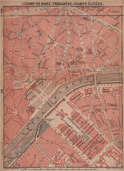 Associate Product CHAMP DE MARS TROCADÉRO CHAMPS ÉLYSÉES town city plan. Paris 7e 8e 16e 1900 map