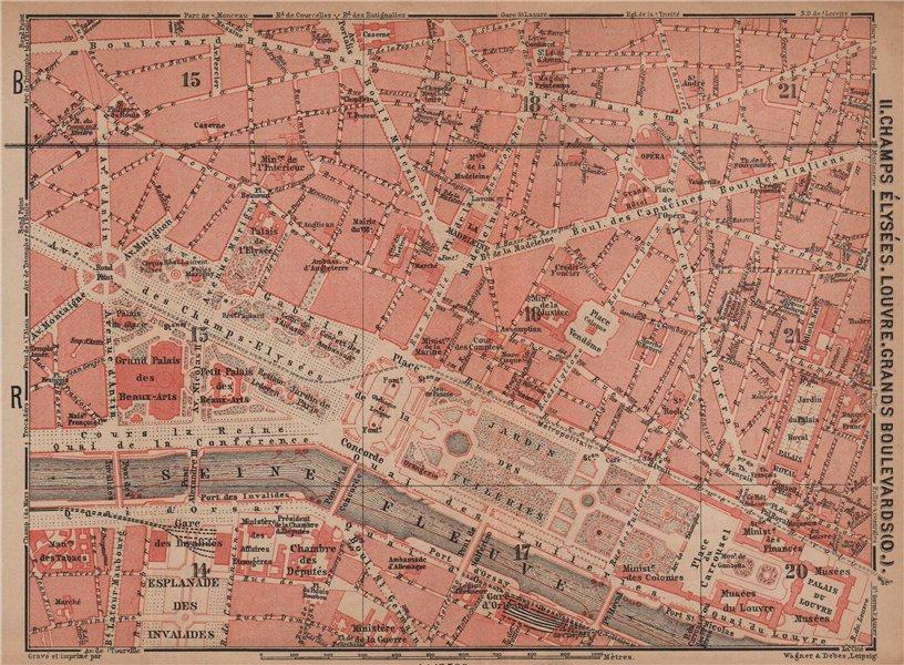 Associate Product CHAMPS ÉLYSÉES LOUVRE GRANDS BOULEVARDS city plan Paris 1e 2e 7e 8e 9e 1900 map
