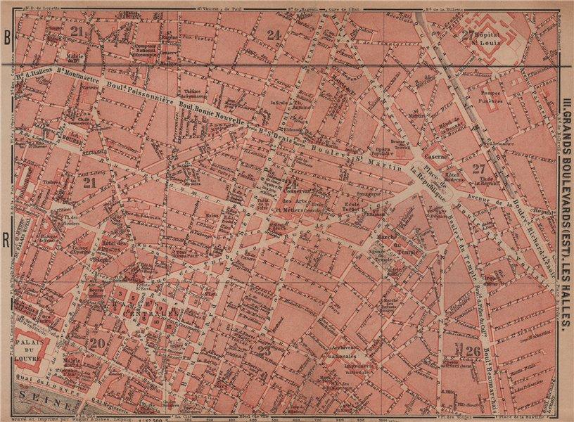 Associate Product GRANDS BOULEVARDS LES HALLES MARAIS town city plan. Paris 1e 2e 3e 10e 1900 map