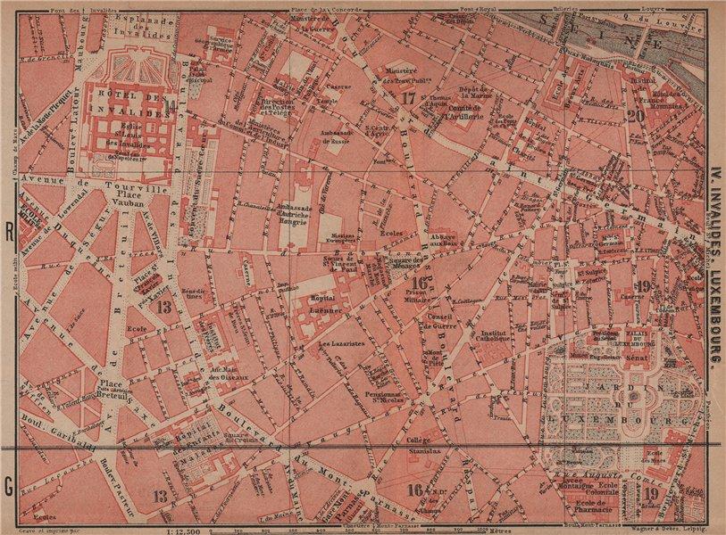 Associate Product INVALIDES LUXEMBOURG. town city plan de la ville. Paris 6e 7e carte 1900 map