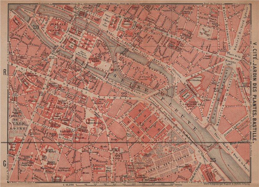 Associate Product CITÉ JARDIN DES PLANTES BASTILLE town city plan. Paris 4e 5e 1e 6e 12e 1900 map