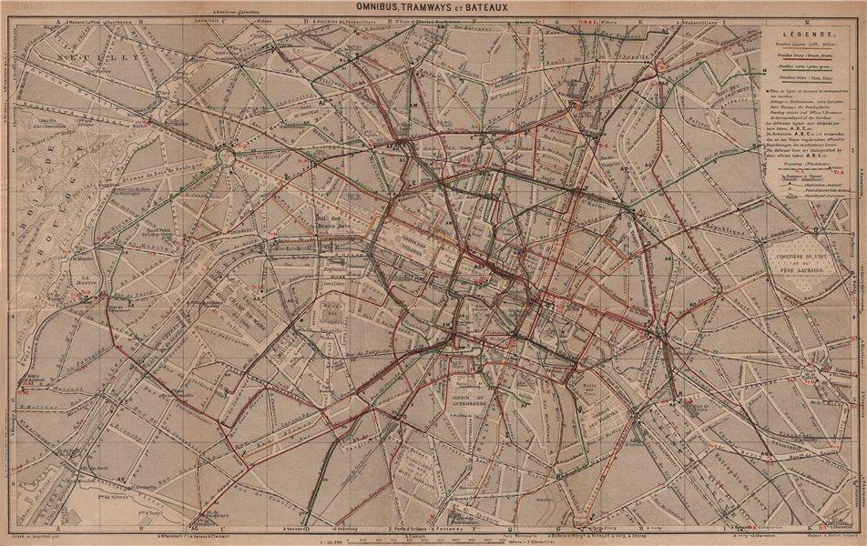 Associate Product PARIS. Itinéraires Omnibus, Tramways & Bateaux. Bus trams boat routes 1900 map