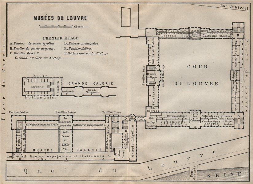 Associate Product MUSÉES DU LOUVRE; PREMIER ÉTAGE First floor plan. Paris carte 1907 old map