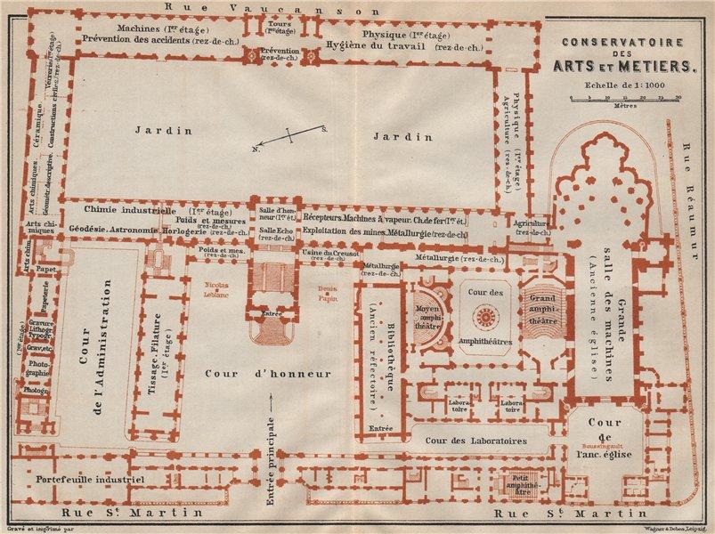 Associate Product CONSERVATOIRE DES ARTS ET METIERS floor plan. Paris carte. BAEDEKER 1907 map