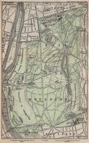 Associate Product BOIS DE BOULOGNE plan. Paris Neuilly Longchamp Jardin d'Acclimatation 1907 map