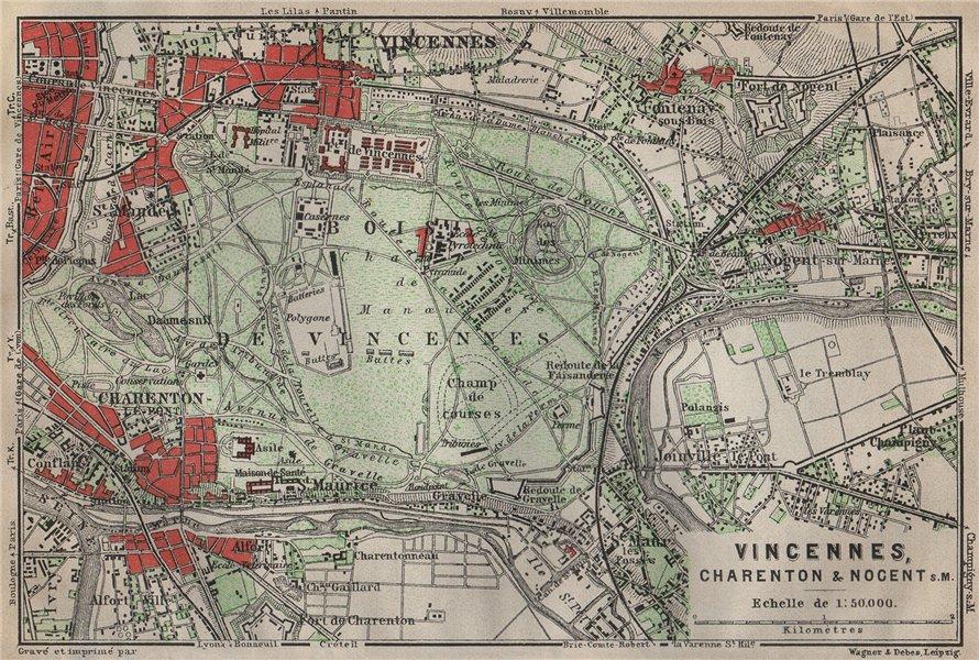 Associate Product BOIS DE VINCENNES. Charenton Nogent-sur-Marne Joinville. Val-de-Marne 1907 map