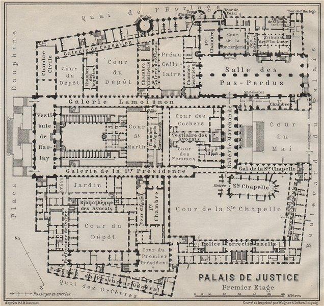 Associate Product PALAIS DE JUSTICE premier étage/first floor plan. Île de la Cité Paris 1907 map