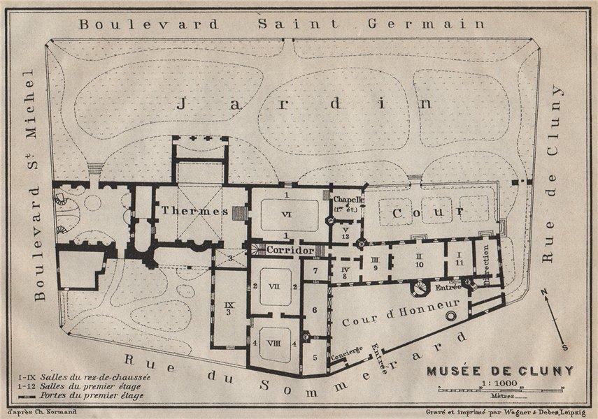 Associate Product Musée national du Moyen Âge Thermes & hôtel de Cluny floor plan. Paris 1907 map