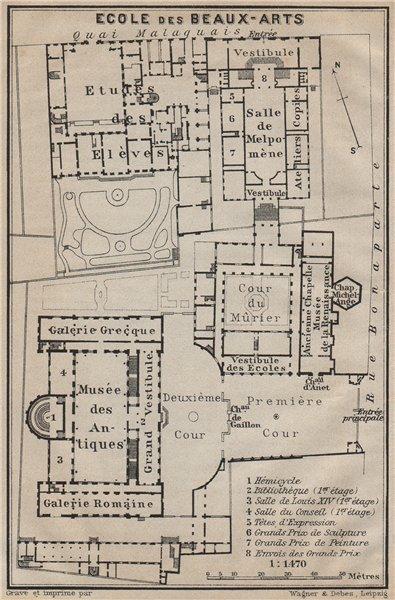 Associate Product ÉCOLE ECOLE DES BEAUX-ARTS floor plan. 14 rue Bonaparte, Paris 6e 1907 old map