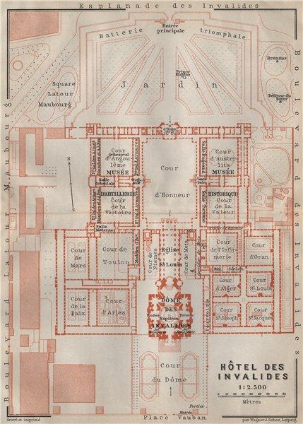 Associate Product HÔTEL DES INVALIDES floor plan. Paris 7e carte. BAEDEKER 1907 old antique map