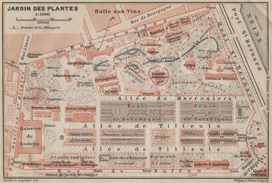 Associate Product JARDIN DES PLANTES ground plan. Paris 5e carte. BAEDEKER 1907 old antique map