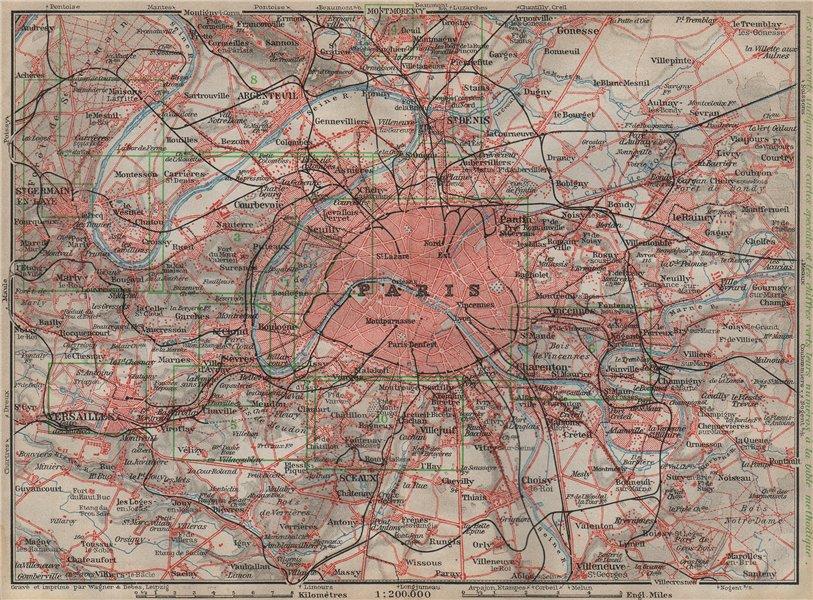 Associate Product PARIS ET SES ENVIRONS. St-Germain-en-Laye Versailles St Cloud carte 1907 map