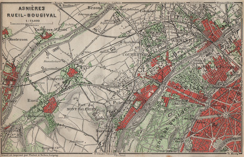 Associate Product ASNIÈRES RUEIL-MALMAISON Nanterre Neuilly Courbevoie. Hauts-de-Seine 1907 map