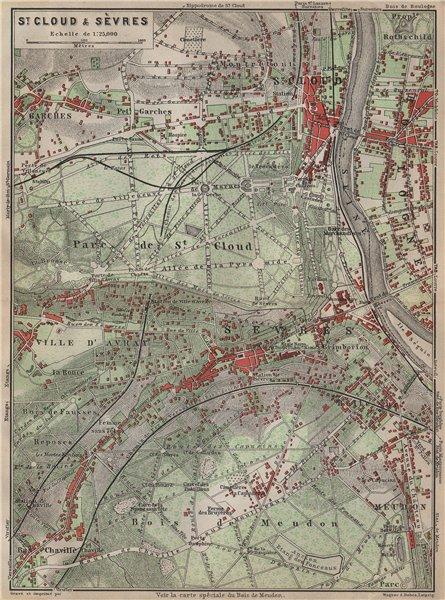 Associate Product ST. CLOUD & SÈVRES environs. Bois de Meudon. Garches. Hauts-de-Seine 1907 map