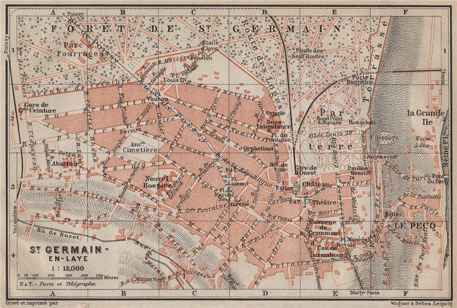 Associate Product ST. GERMAIN-EN-LAYE town city plan de la ville. Yvelines. Paris carte 1907 map