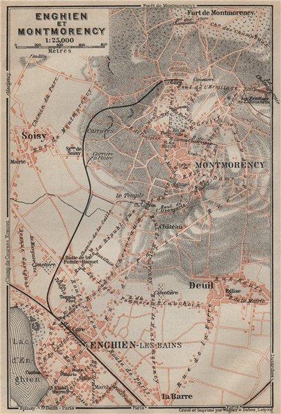 Associate Product ENGHIEN-les-Bains & MONTMORENCY town city plan. Deuil Soisy Val-d'Oise 1907 map