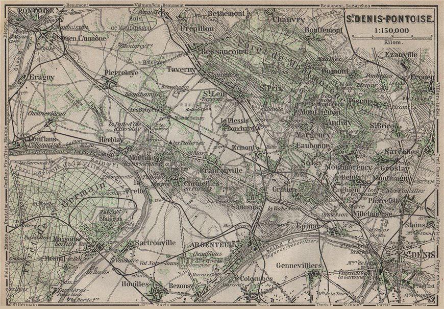 Associate Product ST DENIS PONTOISE environs. Argenteuil Foret de Montmorency Val-d'Oise 1907 map