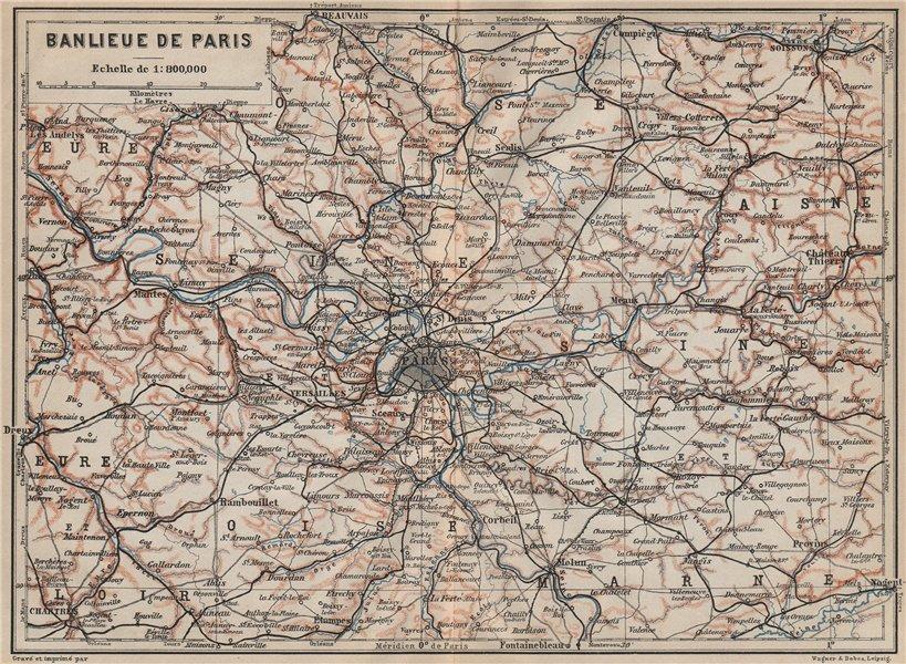 Associate Product ÎLE-DE-FRANCE. Paris environs. Seine Oise Eure Loir Aisne carte 1907 old map