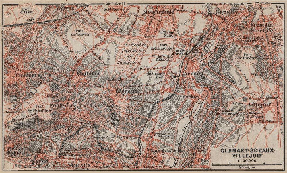 Associate Product CLAMART SCEAUX VILLEJUIF Gentilly Montrouge Arcueil Hauts-de-Seine 1907 map