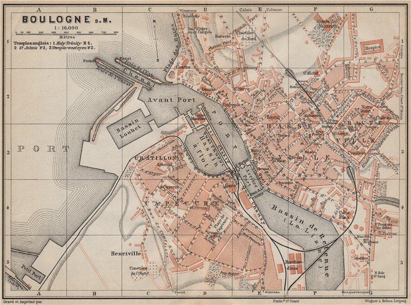 Associate Product BOULOGNE-SUR-MER town city plan de la ville. Pas-de-Calais carte 1907 old map