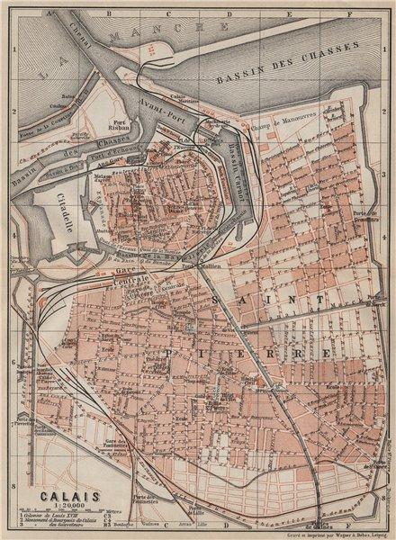 Associate Product CALAIS antique town city plan de la ville. Pas-de-Calais carte 1907 old map