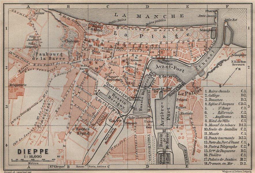 Associate Product DIEPPE antique town city plan de la ville. Seine-Maritime carte 1907 old map