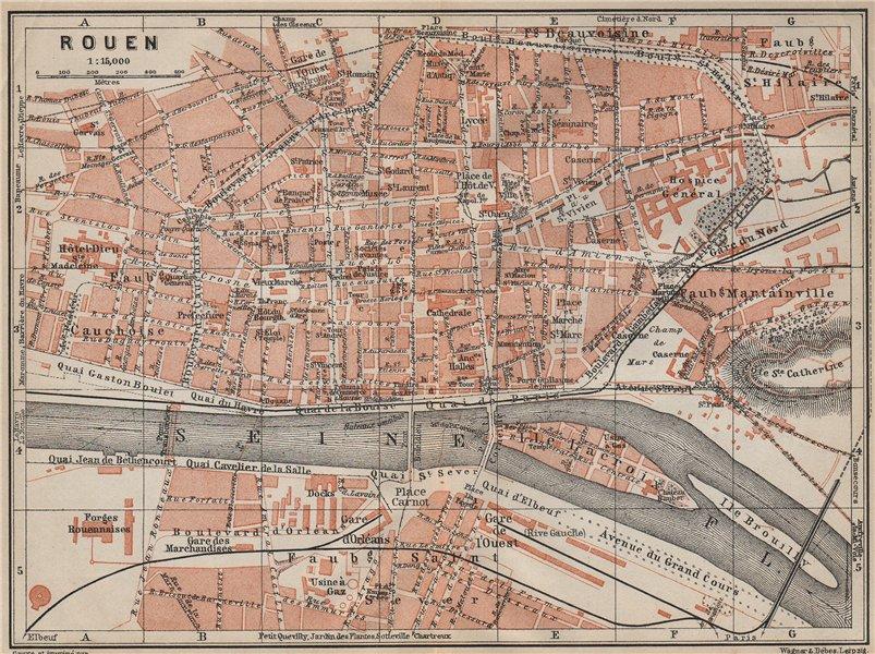 Associate Product ROUEN antique town city plan de la ville. Seine-Maritime carte 1907 old map