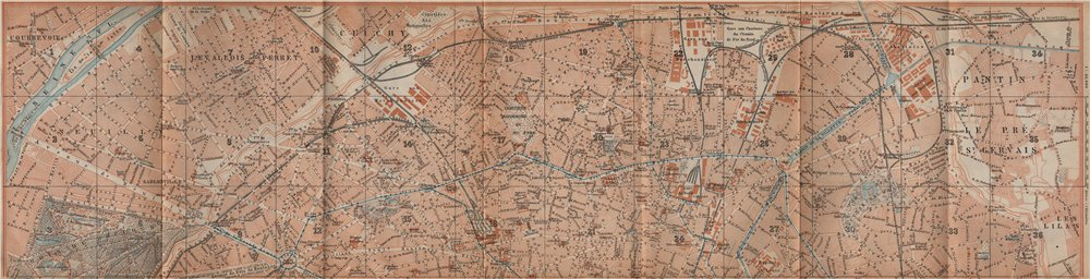Associate Product NORTHERN PARIS town city plan de la ville. 8e 9e 10e 17e 18e 19e carte 1907 map