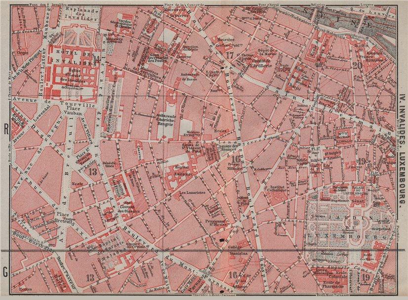 Associate Product INVALIDES LUXEMBOURG. town city plan de la ville. Paris 6e 7e carte 1907 map