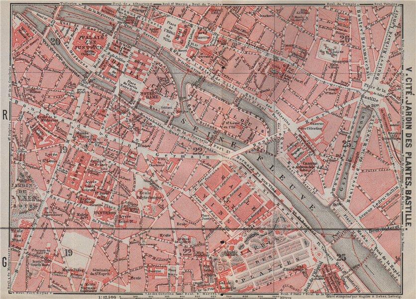 Associate Product CITÉ JARDIN DES PLANTES BASTILLE town city plan. Paris 4e 5e 1e 6e 12e 1907 map