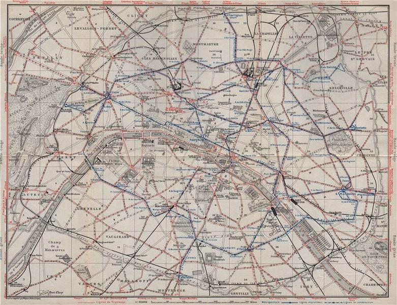 Associate Product PARIS TRAMWAYS & METROPOLITAIN RAILWAYS. Underground railways carte 1907 map