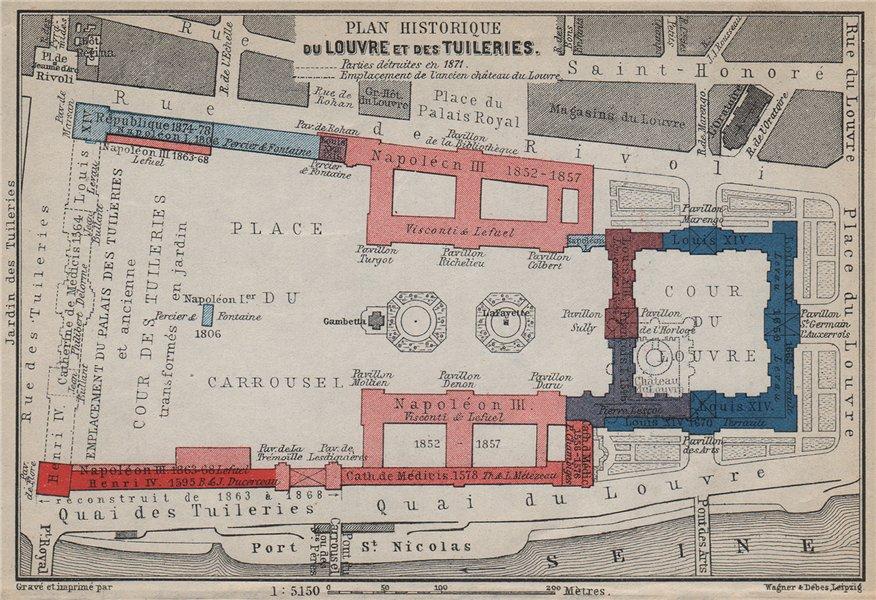 Associate Product LOUVRE & TUILERIES. Plan historique. Historic development. Paris 1er 1910 map