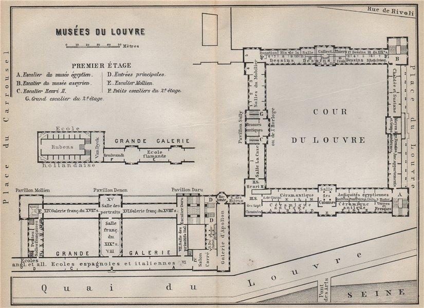 Associate Product MUSÉES DU LOUVRE; PREMIER ÉTAGE First floor plan. Paris carte 1910 old map