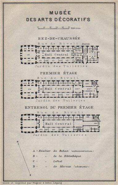 Associate Product MUSÉE DES ARTS DÉCORATIFS floor plan. 107 rue de Rivoli, Paris 1e 1910 old map