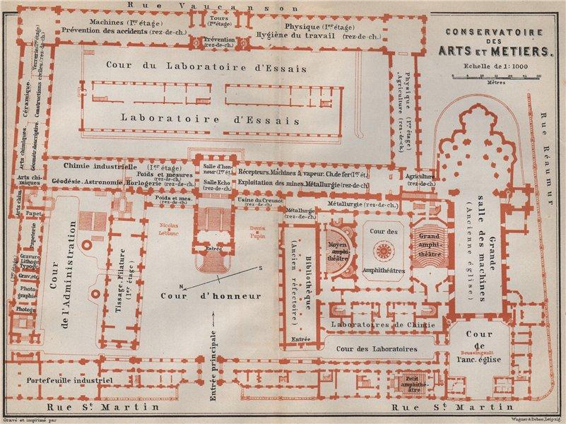 Associate Product CONSERVATOIRE DES ARTS ET METIERS floor plan. Paris carte. BAEDEKER 1910 map