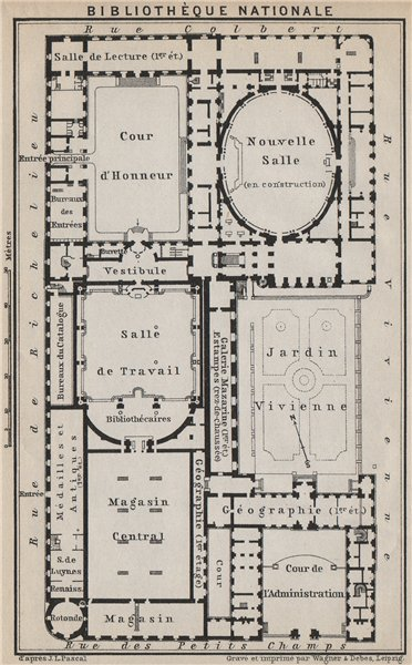 Associate Product BIBLIOTHÈQUE NATIONALE DE FRANCE floor plan. Richelieu site. Paris 1910 map