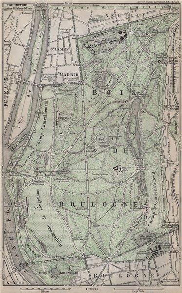 Associate Product BOIS DE BOULOGNE plan. Paris Neuilly Longchamp Jardin d'Acclimatation 1910 map