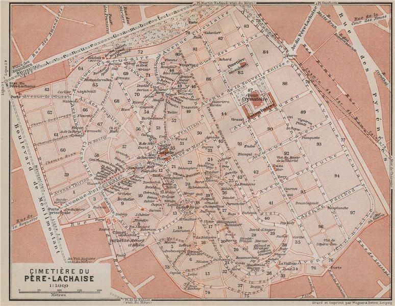 Associate Product CEMETERY / CIMETIÈRE DU PÈRE-LACHAISE ground plan. Paris 20e carte 1910 map