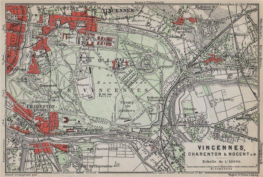 Associate Product BOIS DE VINCENNES. Charenton Nogent-sur-Marne Joinville. Val-de-Marne 1910 map