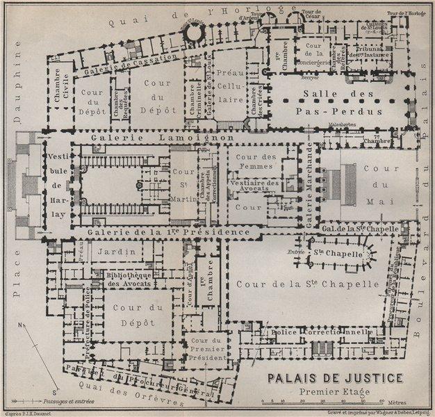 Associate Product PALAIS DE JUSTICE premier étage/first floor plan. Île de la Cité Paris 1910 map