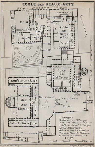 Associate Product ÉCOLE ECOLE DES BEAUX-ARTS floor plan. 14 rue Bonaparte, Paris 6e 1910 old map