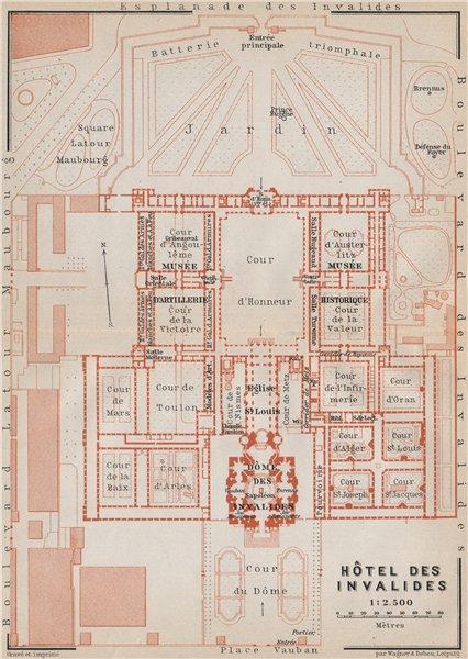 Associate Product HÔTEL DES INVALIDES floor plan. Paris 7e carte. BAEDEKER 1910 old antique map