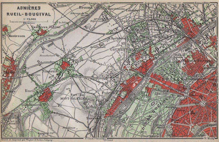 Associate Product ASNIÈRES RUEIL-MALMAISON Nanterre Neuilly Courbevoie. Hauts-de-Seine 1910 map