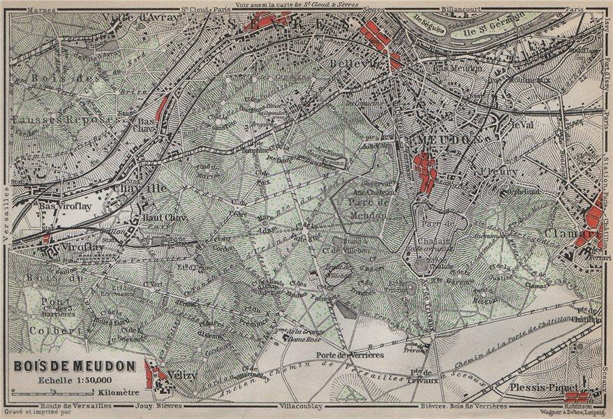 Associate Product BOIS DE MEUDON environs. Sèvres Clamart. Hauts-de-Seine carte 1910 old map