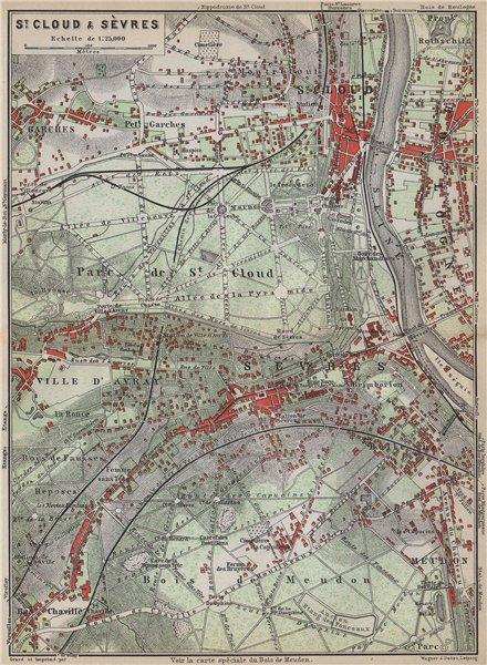 Associate Product ST. CLOUD & SÈVRES environs. Bois de Meudon. Garches. Hauts-de-Seine 1910 map