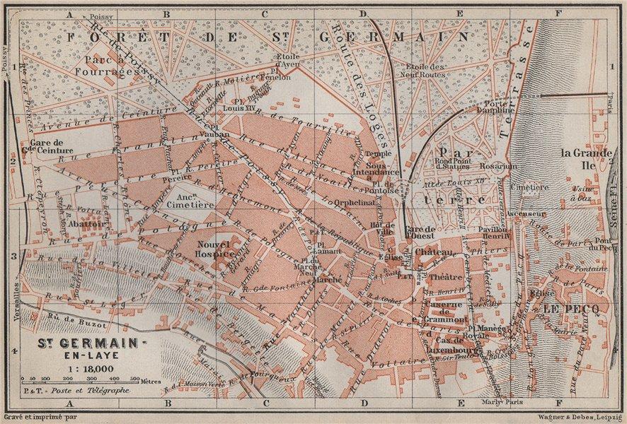 Associate Product ST. GERMAIN-EN-LAYE town city plan de la ville. Yvelines. Paris carte 1910 map