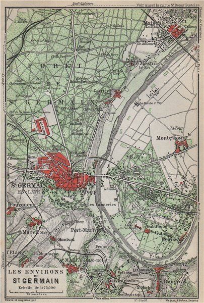 Associate Product ST-GERMAIN-EN-LAYE & environs. Marly-le-Roi Forêt Vesinet. Yvelines 1910 map